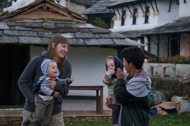 Ghandruk playing with the babies
